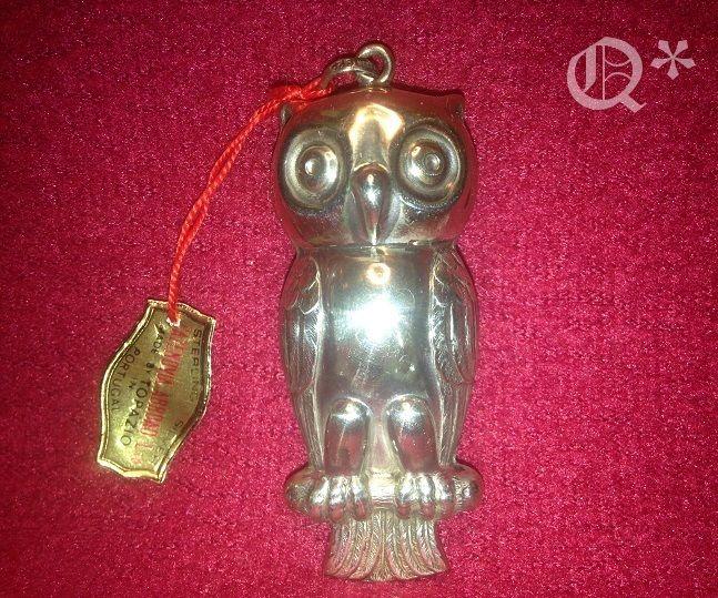 1974 Cazenovia Sterling Silver Owl Ornaments