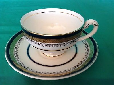 BONE CHINA CUP & SAUCER BY MYOTT ROYAL CROWN STAFFORDSHIRE GOLD COBALT BANDS