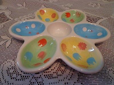 Easter Egg Holder Ceramic Hard Boiled Egg Blue Green  7