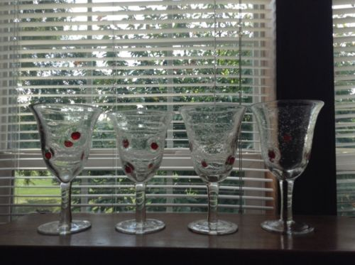 4 vintage hand blown apple decorated large goblets glasses NICE