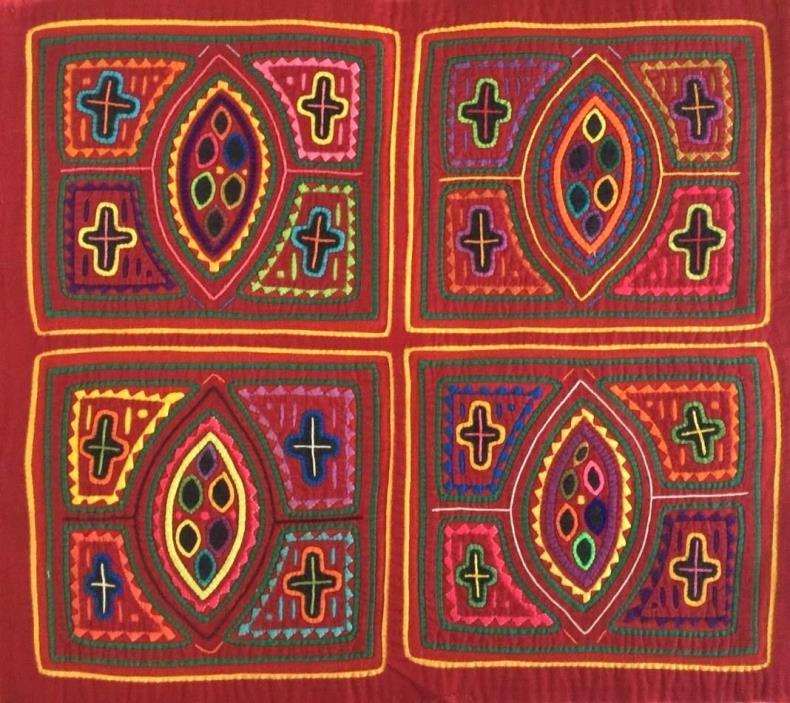 MOLA Art 1960s Vintage Reverse Applique Panama San Blas Cuna - Holy Crosses