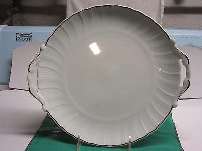 Bernardaud cake plate 2-handled gold trim fluted Limoges china 10 1/2