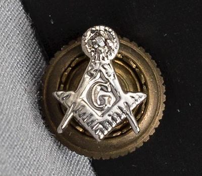 Vintage Masonic Grand Lodge Masons Silver Tone Screw On Hat Pin jds