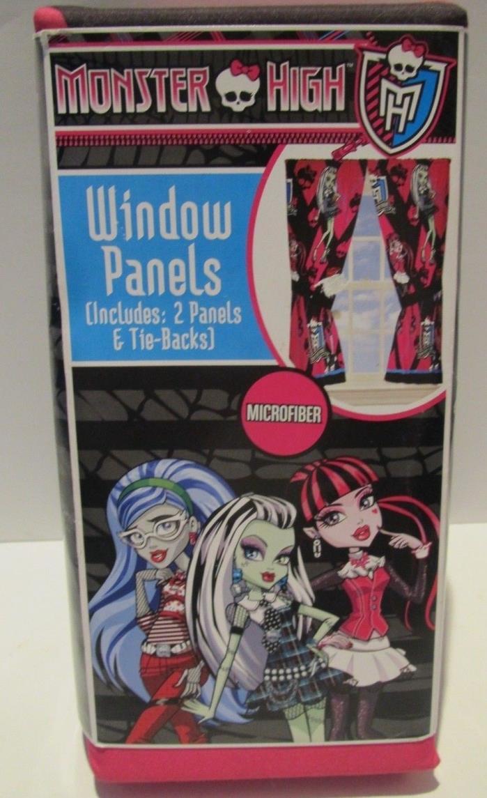 Monster High Window Panels 2 Curtains and Tie-Backs Microfiber Cartoon Girls