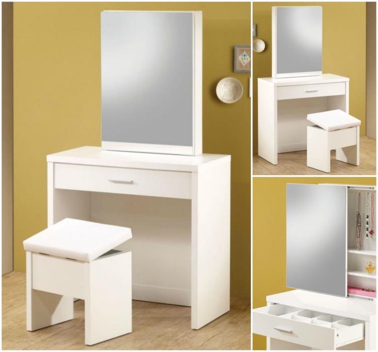 Bedroom Vanity Set Wood Table Stool Bench Console Desk Storage Makeup Dressing