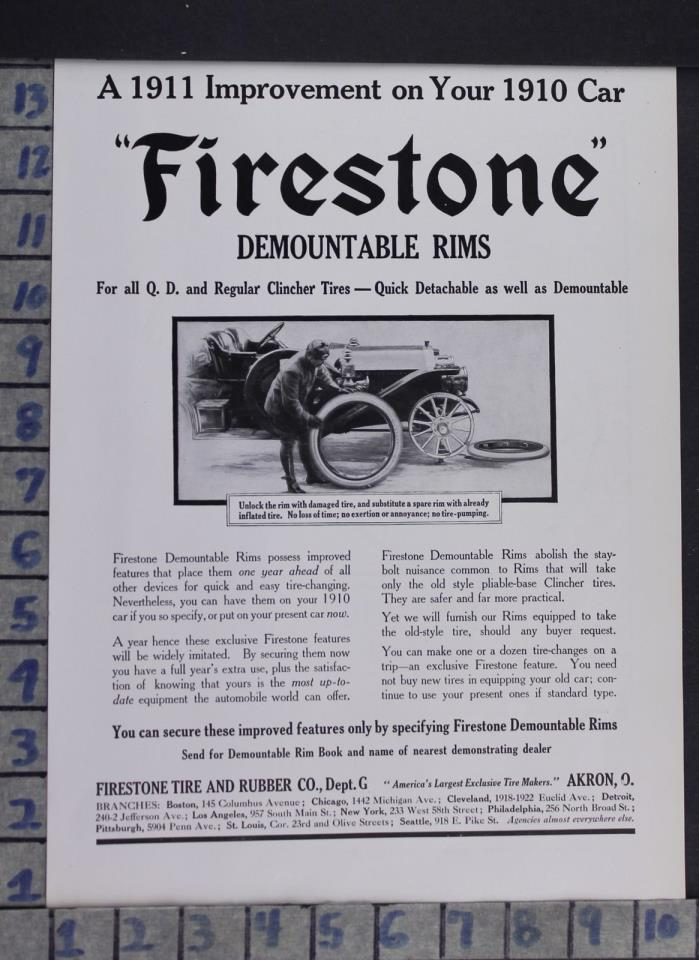 1910 AUTO FIRESTONE TIRE RIMS MECHANIC GARAGE REPAIR AKRON OH VINTAGE AD DO25