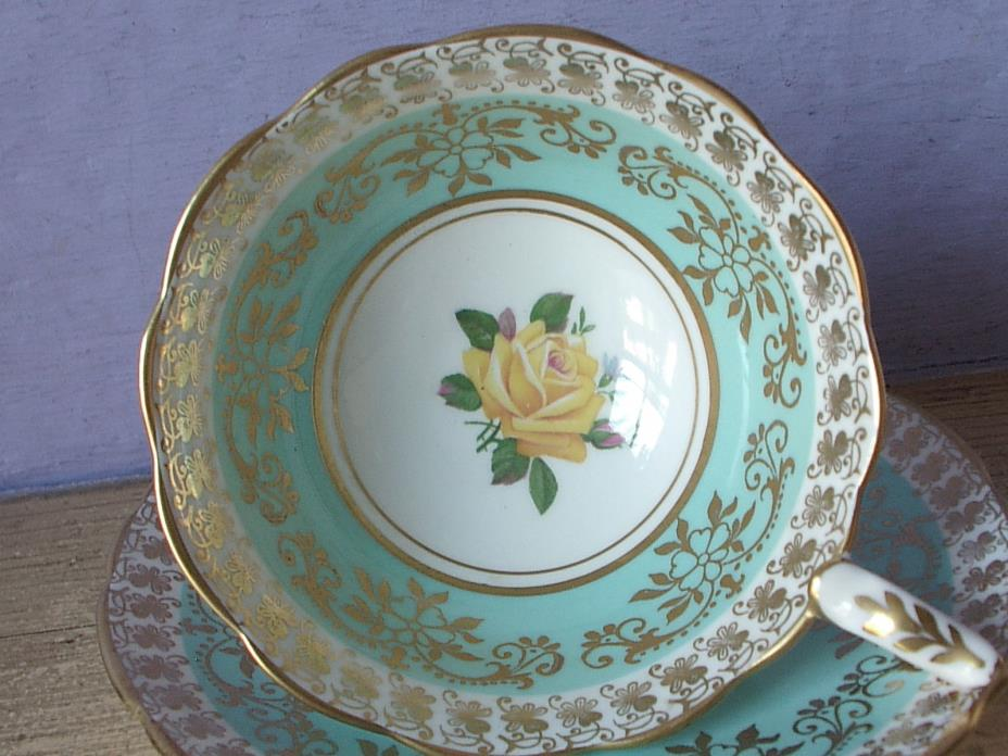 Vintage Royal Stafford Turquoise blue gold yellow rose bone china tea cup teacup