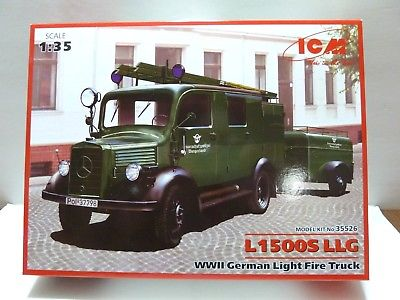 ICM WWII German Light Fire Truck L1500s LLG Plastic Model Kit 35526