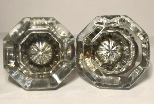2 Antique Victorian Glass / Crystal And Brass Doorknobs