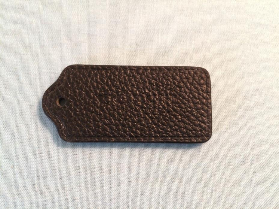 Coach Handbag key fob tag black textured leather no chain stamped COACH NEW YORK