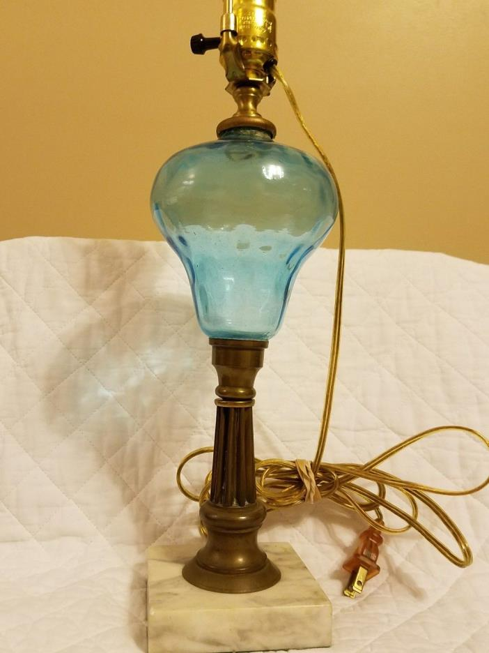 "SALE* Vtg 21"" Glass Lamp Blue Hand-blown Brass Stand Marble Base Vintage"