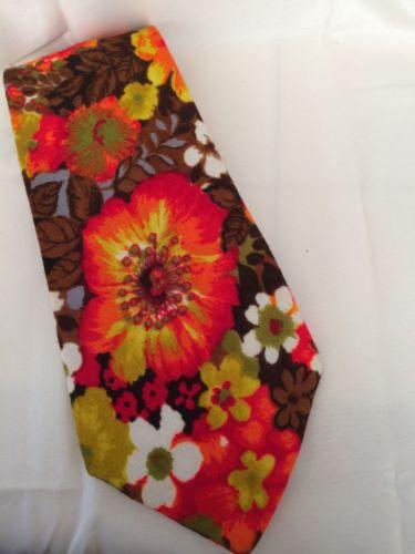 Men's Vintage 60s Neck Tie Orange Brown Green Floral Handmade 56
