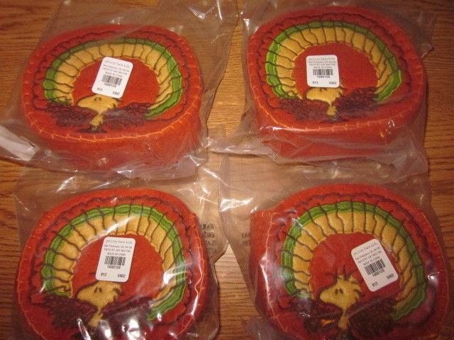 S/4 Pottery Barn Kids Peanuts Woodstock Turkey Thanksgiving Treat Containers NIP