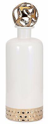 Elegant Contemporary Cream-Colored Ceramic Bottle with Cutwork Stopper 15.75