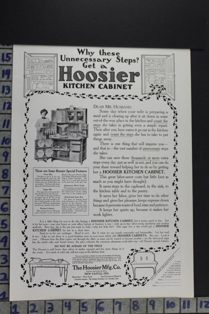 1908 DECOR KITCHEN CABINET HOOSIER HOME CUPBOARD NEW CASTLE VINTAGE AD EC005
