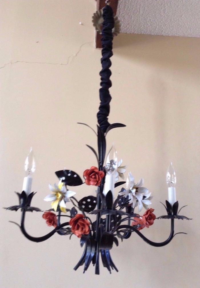 VTG Floral Tole Ware Chandelier 5 Arm Lamp Flowers Hanging Light Fixture