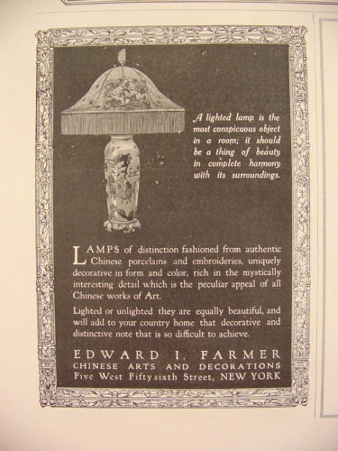 1917 Edward I Farmer Chinese Arts & Decorations LAMPS Print Ad