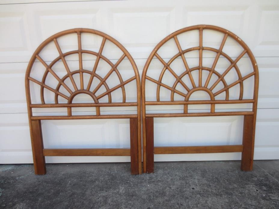 Cool Bamboo Pair Twin size Headboards Rattan Cottage Coastal 2 Tropical Round