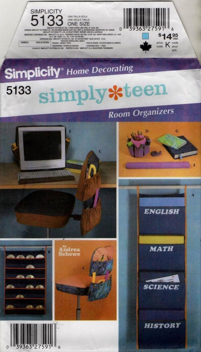 5133 sewing PATTERN  teen room Organizers CHAIR COMPUTER COVERS uncut