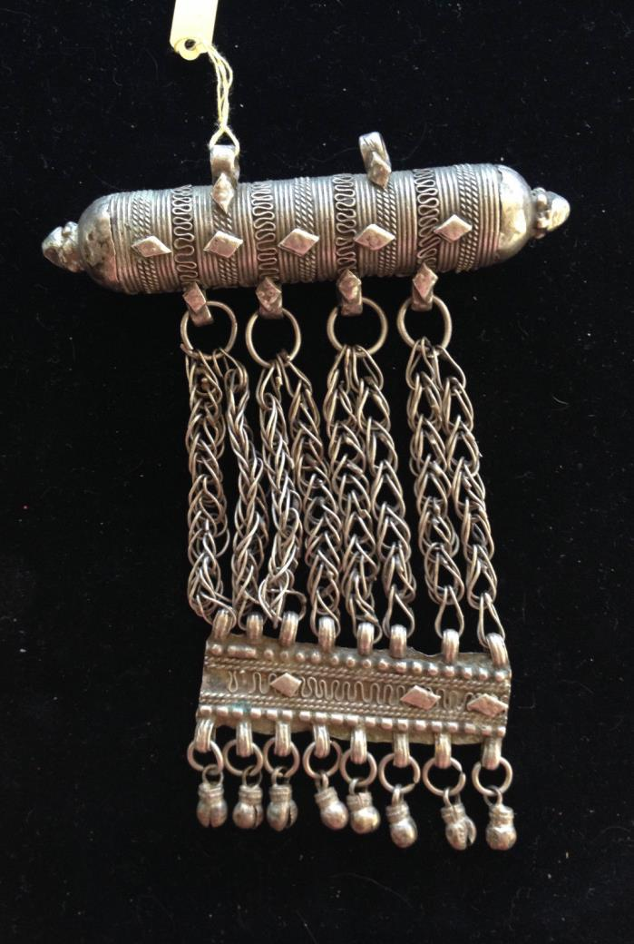 Yemeni Coin Silver Amulet Pendant with Dangle
