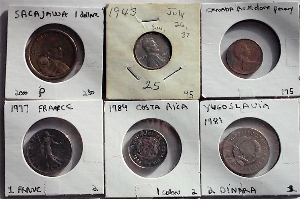 Set of six coins includes one sacajawa dollar and one steel wheat penny.