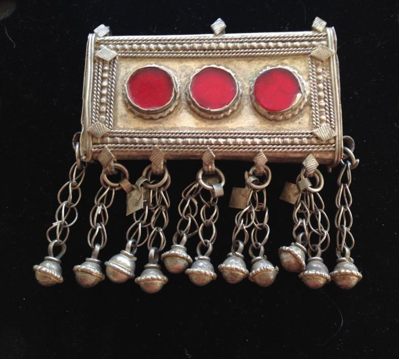 Yemeni Coin Silver Amulet with Three Red Glass Stones and Beaded Dangles