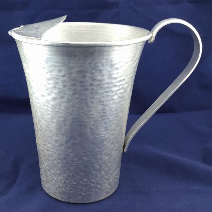 Vintage Hammered Aluminum Water Tea Juice Pitcher w/ Ice Spout