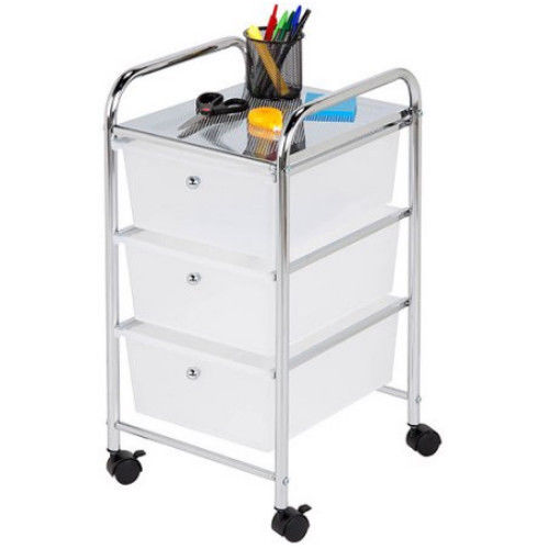 Home Office Drawer Cart Plastic Chrome Steel Frame Caster Rolling Craft Storage