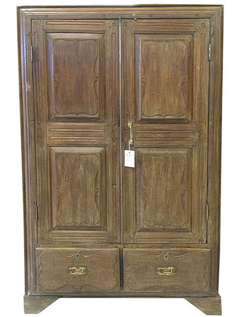 ANTIQUE INDIAN ARMOIRE COLONIAL STORAGE CABINET SPANISH STYLE CHEST FURNITURE