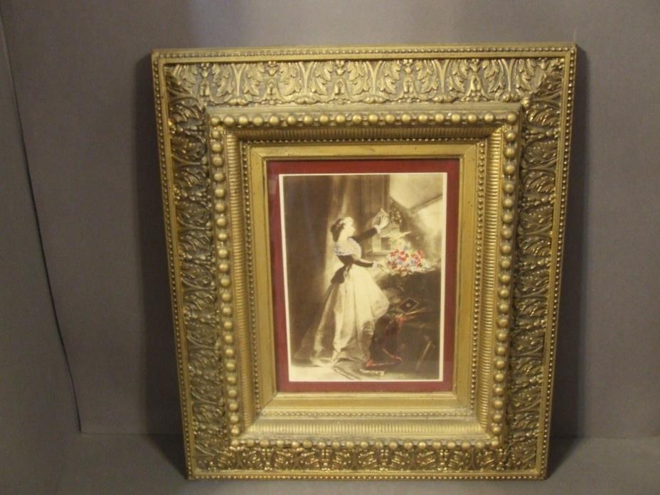 ANTIQUE EASTLAKE VICTORIAN HEAVY GOLD GESSO WOOD FRAME W/ LADY PRINT (B)