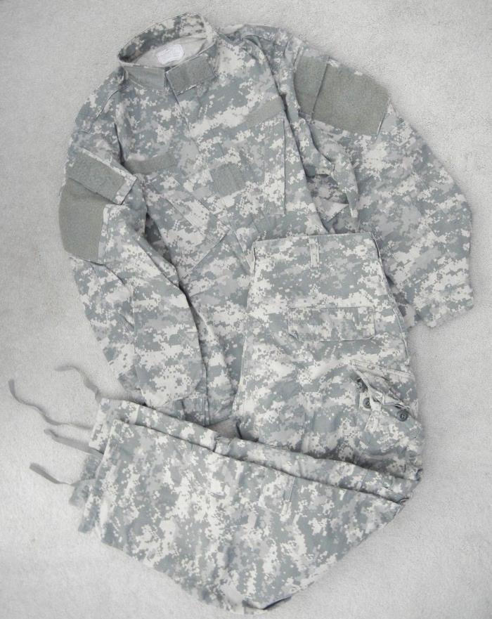 US ARMY DIGITAL CAMO COMBAT MILITARY PANTS AND SHIRT MENS USED SIZE MEDIUM SHORT