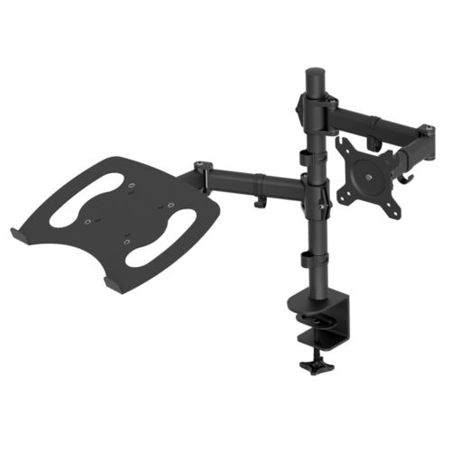 New Laptop & Monitor Desk Mount Stand Black Adjustable Fits 1 Screen upto 27