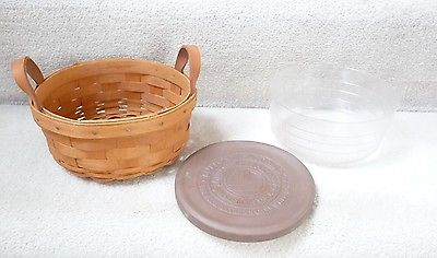 Longaberger 1992 Button Basket with protector & warming stone (6 1/2