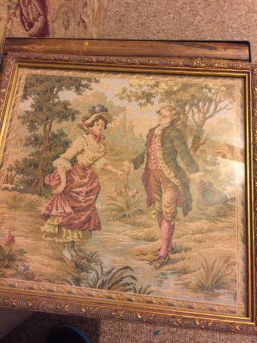 Framed Tapestry Pastoral w Antique Look Gold Frame 10.5 x 11 inch