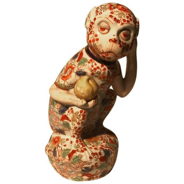 Japanese Big Red Enameled Porcelain Monkey Sculpture Okimono Signed