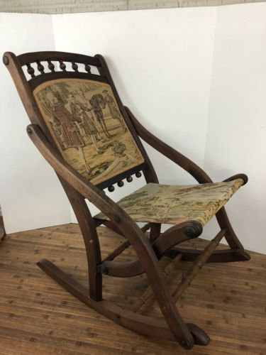 Vintage Antique Childs Folding Wooden Rocking Chair Victorian Tapestry Design