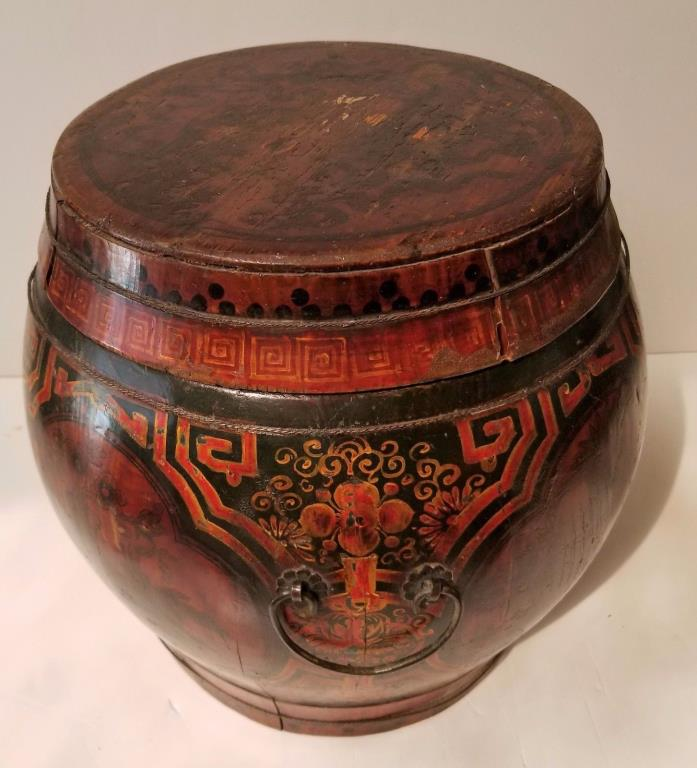 Asian Chinese Antique Basket Barrel Bowl Wood Body Painted Designs Gorgeous!!