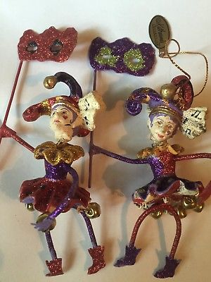 Katherines Collection Jester Ornament Mardi Gras WIth Mask Set of 2