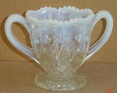 EAPG CRYSTAL OPALESCENT PANELLED HOLLY SPOONER NORTHWOOD GLASS 1907