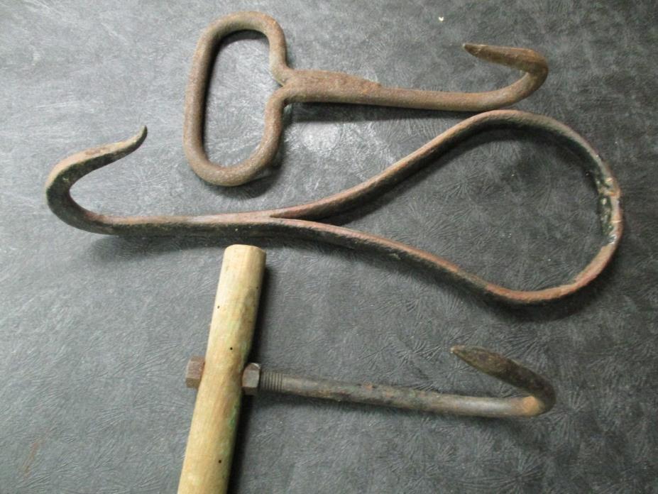 Vintage hay kettle meat hooks metal rustic steampunk