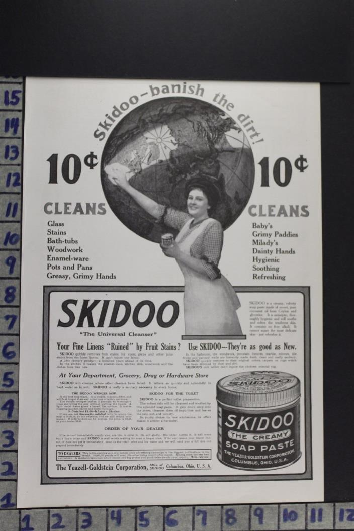 1911 HOUSEHOLD SKIDOO SOAP PASTE CLEANING HYGIENE COLUMBUS OH VINTAGE AD EB013