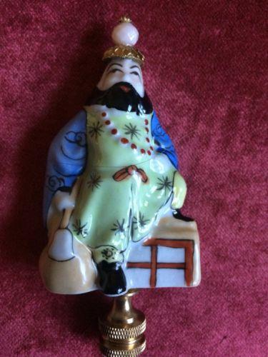 Chinoiserie Asian Porcelain Figure Lamp Finial Home Decor Designer Lighting