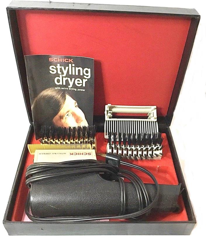Vtg~Mens Schick Styling Dryer~2 Brushes~2 Combs~Diffuser~Manual~Case~Model 336