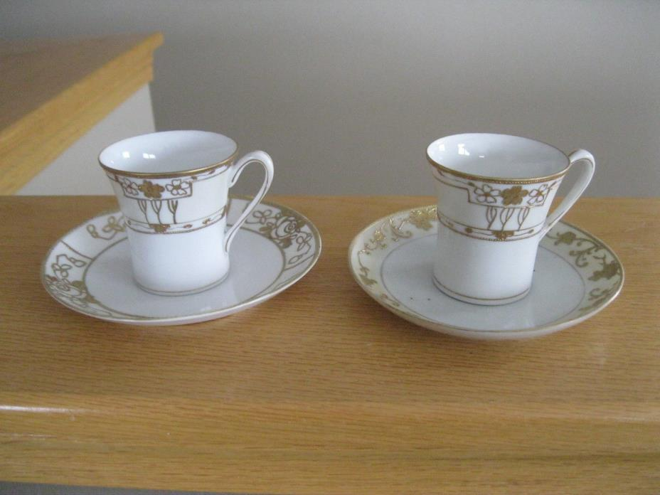 2 Vintage cups and saucers Japan Nippon hand painted