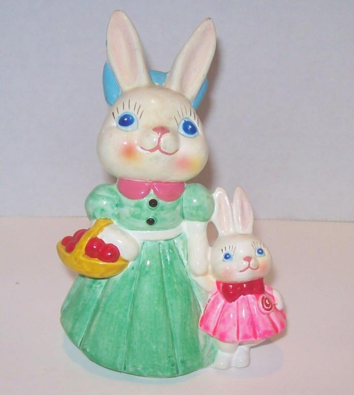 Vtg Easter Bunny Figurine Mommy and Daughter Apple Basket Lollipop
