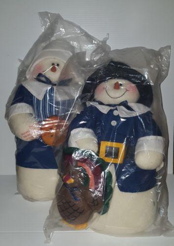 Christmas pilgrim snowman couple 16 inches tall plush holidays decoration set