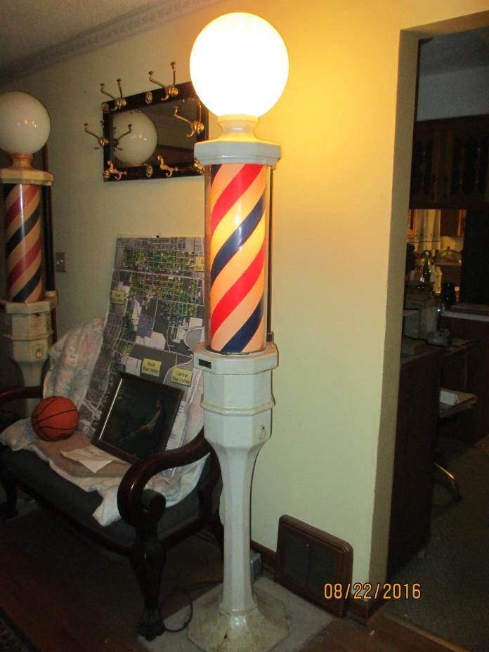 Vintage Pair of Koken Barber poles 95 or 328  Lamp #1 is wired. Loop Chicago #1