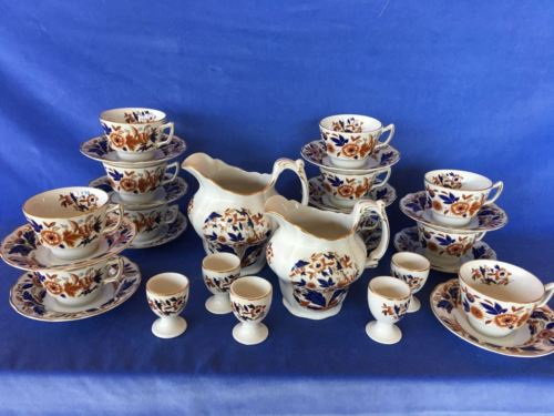 Booth's DOVEDALE Brown Cobalt Breakfast Set 2 Pitchers 5 Egg Cup 11 Cups Saucers