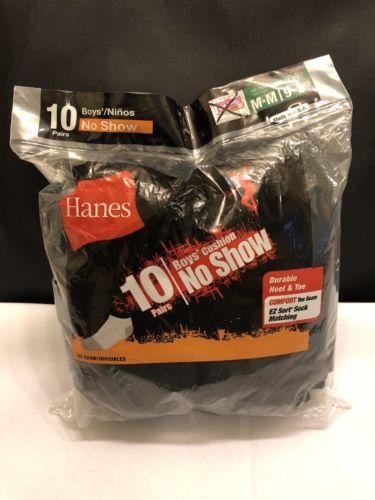 10 Pair Hanes Boys Socks Shoe Size 9-2.5 Medium Black No Show Cushion