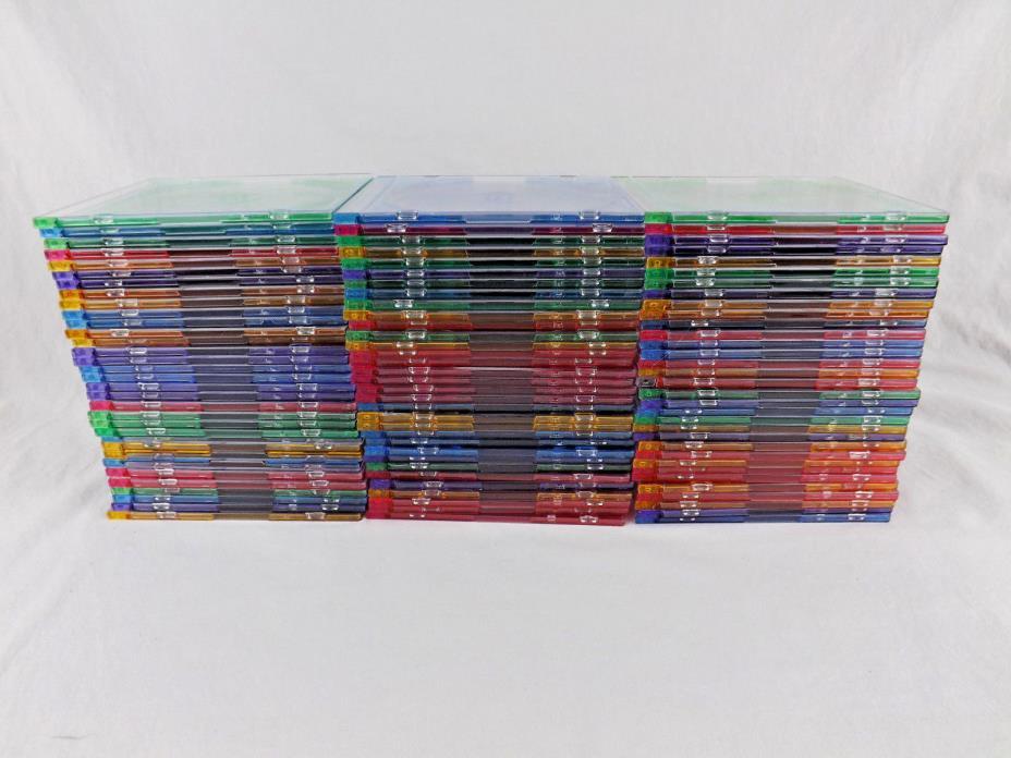 100 Thin Slim Multi Color CD DVD Jewel Case Tray Plastic Disc Box Storage